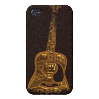 Caja de oro del iPhone del instrumento de música d iPhone 4 Funda