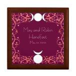 Caja de oro del roble de Wiccan Handfasting de la Joyero Cuadrado Grande