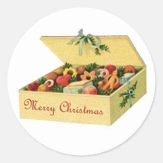 Caja de pegatinas de las galletas del navidad etiquetas redondas