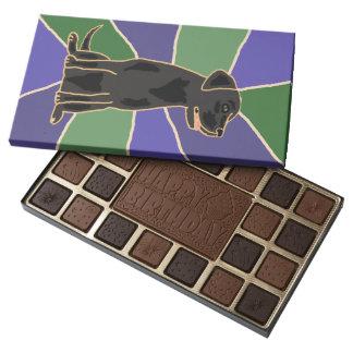 Caja de perro negra de Labrador de la diversión de Caja De Bombones Variados Con 45 Piezas