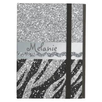Caja de plata del aire del iPad del monograma de l