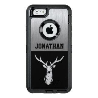 Caja de plata y negra del monograma de la caza de funda otterbox para iPhone 6/6s