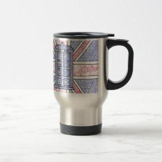 Caja de policía británica y bandera de Union Jack  Taza De Café