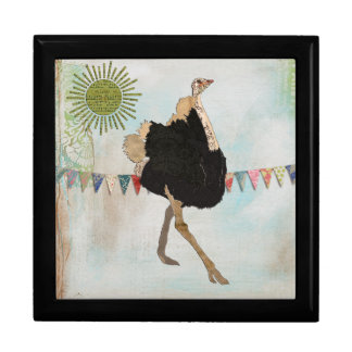 Caja de regalo adornada de la sol de la avestruz joyero cuadrado grande