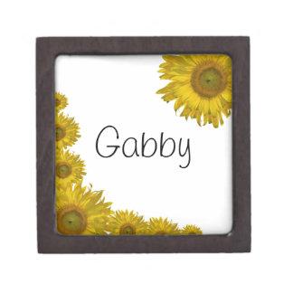 Caja de regalo amarilla personalizada del girasol caja de recuerdo de calidad
