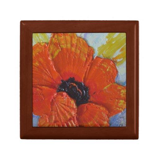 Caja de regalo anaranjada de la flor de la amapola