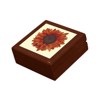 Caja de regalo anaranjada del girasol joyero cuadrado pequeño