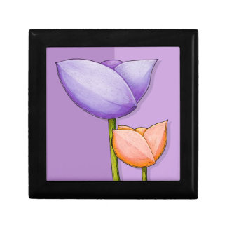 Caja de regalo anaranjada púrpura de las flores si