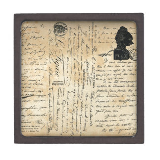 Caja de regalo antigua de la escritura caja de joyas de calidad
