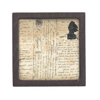 Caja de regalo antigua de la escritura cajas de joyas de calidad