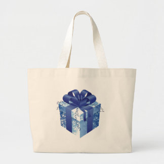 Caja de regalo azul con Blue Ribbon Bolsa Tela Grande