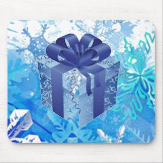 Caja de regalo azul con Blue Ribbon Alfombrilla De Ratón