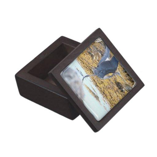 Caja de regalo azul de la garza caja de joyas de calidad