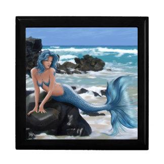 Caja de regalo azul de la sirena