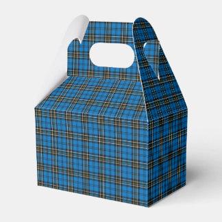 Caja de regalo azul de la tela escocesa del paquete de regalo