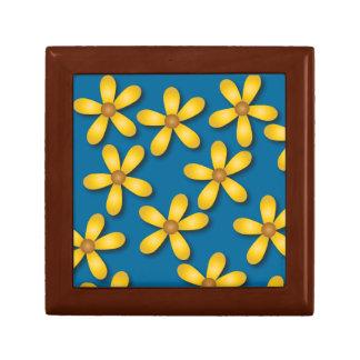 Caja de regalo azul de las flores felices joyero cuadrado pequeño