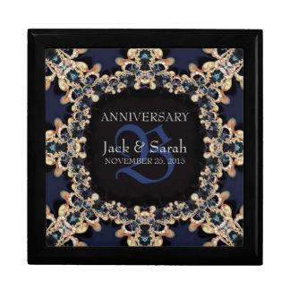 Caja de regalo azul del aniversario de boda de las