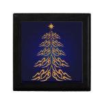 Caja de regalo azul del árbol de navidad de Bell