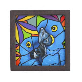 Caja de regalo azul del Macaw