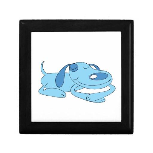 Caja de regalo azul el dormir del perro