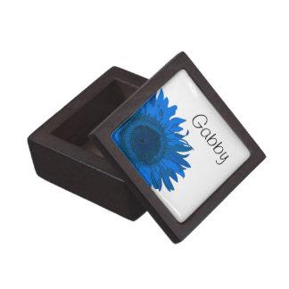 Caja de regalo azul personalizada de la flor del a caja de joyas de calidad