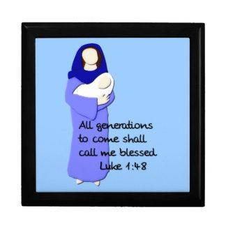 Caja de regalo bendecida del Virgen María Joyero Cuadrado Grande