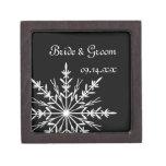 Caja de regalo blanco y negro de boda del invierno cajas de recuerdo de calidad
