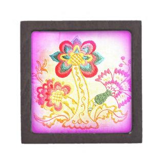 caja de regalo bordada de la palmera del rosa del caja de recuerdo de calidad