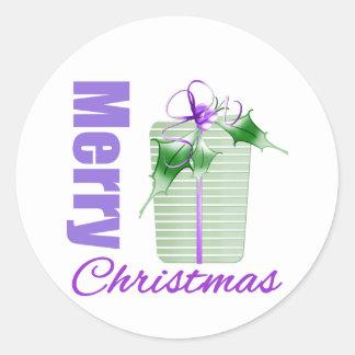 Caja de regalo caprichosa del tema púrpura de las etiqueta redonda