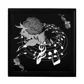 Caja de regalo color de rosa floral de la nota de  joyero cuadrado grande