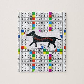 ¡Caja de regalo con el rompecabezas - perro en cru