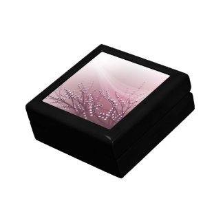 Caja de regalo con las ramas del sauce del flor joyero cuadrado pequeño