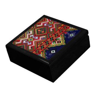 Caja de regalo cruzada ucraniana de la teja del bo joyero cuadrado grande