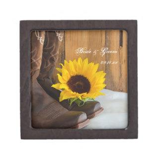 Caja de regalo de boda del girasol del país caja de recuerdo de calidad
