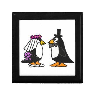 Caja de regalo de boda del pingüino del AL Joyero Cuadrado Pequeño
