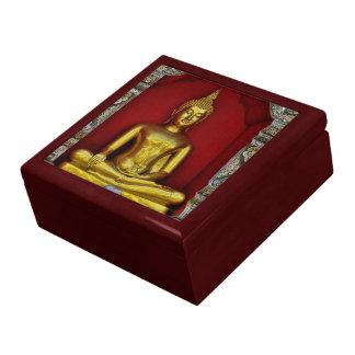 Caja de regalo de caoba de Buda del oro Joyero Cuadrado Grande