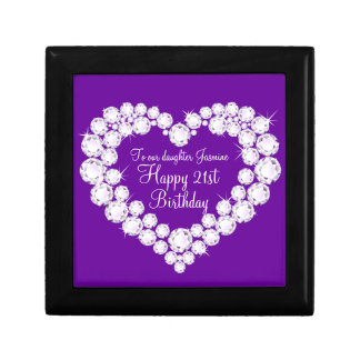 Caja de regalo de cumpleaños de la hija del corazó joyero cuadrado pequeño