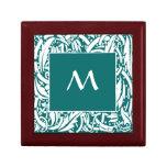 Caja de regalo de encargo de la teja del monograma joyero cuadrado pequeño