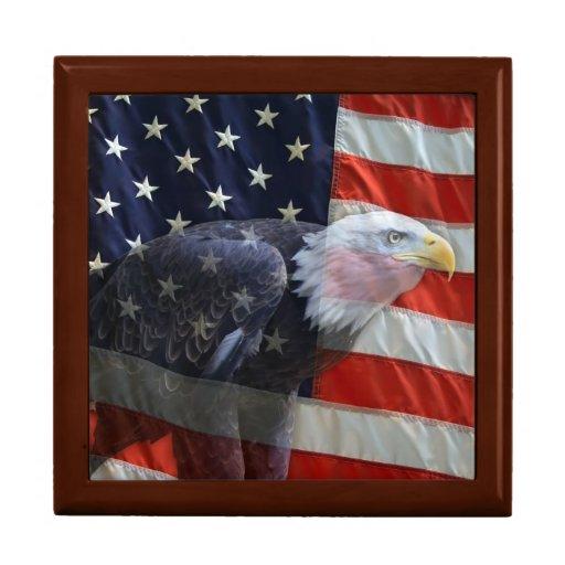 Caja de regalo de la bandera americana de Eagle Joyero Cuadrado Grande