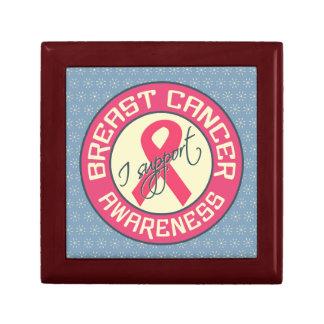 Caja de regalo de la conciencia del cáncer de pech joyero cuadrado pequeño