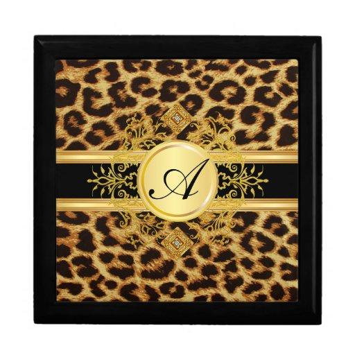 Caja de regalo de la joyería del estampado leopard