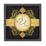 Caja de regalo de la joyería del monograma del oro caja de recuerdo de calidad