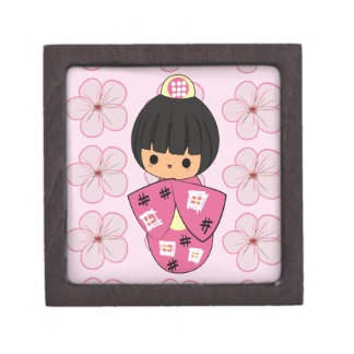 Caja de regalo de la muñeca de Kawaii Kokeshi Caja De Recuerdo De Calidad