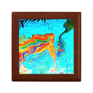 caja de regalo de la sirena del pelo del arco iris
