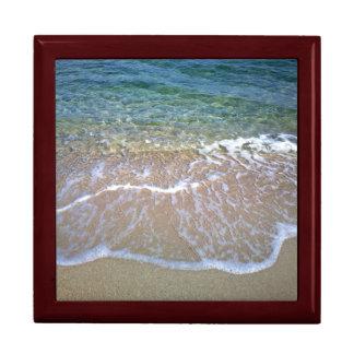 Caja de regalo de la teja de la playa joyero cuadrado grande