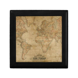 Caja de regalo de la teja del arte del mapa de Vie Joyero Cuadrado Pequeño