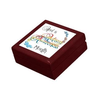 Caja de regalo de la teja del mes de la conciencia joyero cuadrado pequeño