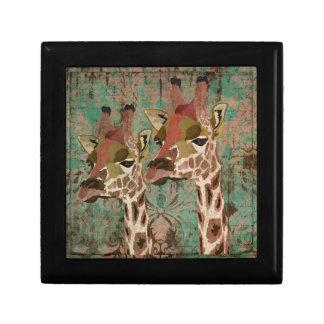 Caja de regalo de las jirafas de Rosa Joyero Cuadrado Pequeño