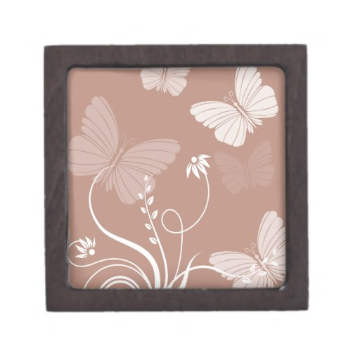Caja de regalo de las mariposas de Brown pequeña ( Cajas De Recuerdo De Calidad