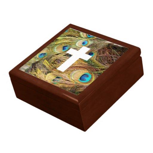 Caja de regalo de las plumas de la cruz y del pavo
